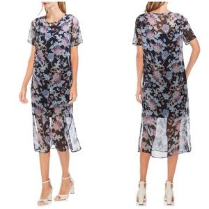 New Vince Camuto Poetic Blooms Overlay Midi Dress